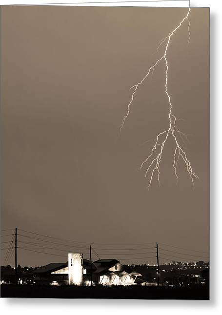 Lightning Strike Greeting Cards - Fire Rescue Station 67  Lightning Thunderstorm 2C BW Sepia Greeting Card by James BO  Insogna
