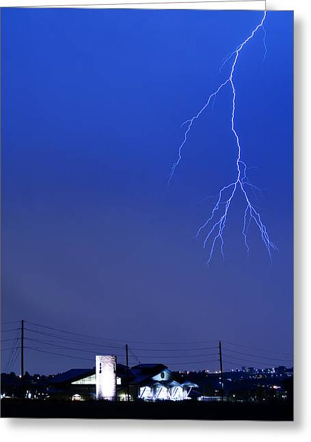 Fire Rescue Station 67  Lightning Thunderstorm 2c Greeting Card by James BO  Insogna