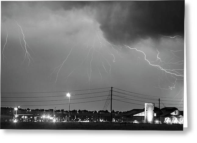 Fire Rescue Station 67  Lightning Thunderstorm Black And White Greeting Card by James BO  Insogna