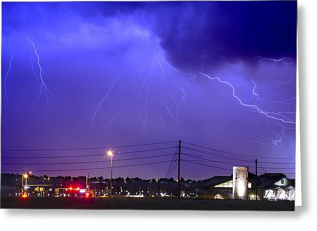 Lightning Strike Greeting Cards - Fire Rescue Station 67  Lightning Thunderstorm Greeting Card by James BO  Insogna