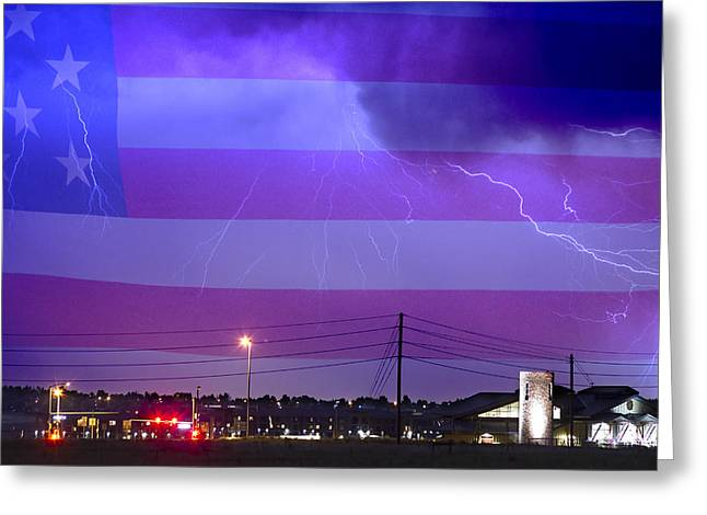 Lightning Strike Greeting Cards - Fire Rescue Station 67  Lightning Thunderstorm with USA Flag Greeting Card by James BO  Insogna