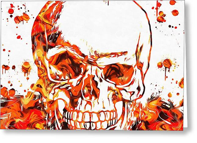 Screaming Mixed Media Greeting Cards - Fire Skull Greeting Card by Dan Sproul