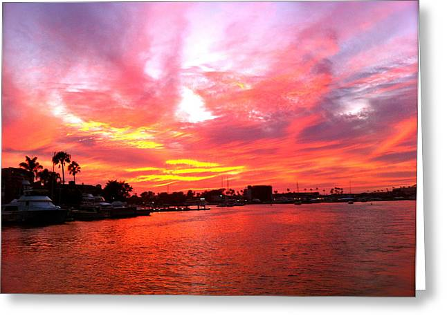 Balboa Island Greeting Cards - Fire Sky Greeting Card by Jon Berry