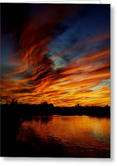 Fire Sky Greeting Card by Saija  Lehtonen