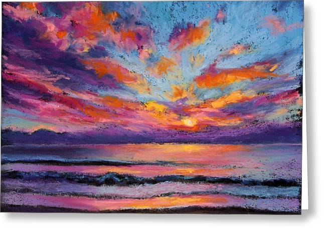 Dramatic Pastels Greeting Cards - Fire Sky Greeting Card by Susan Jenkins