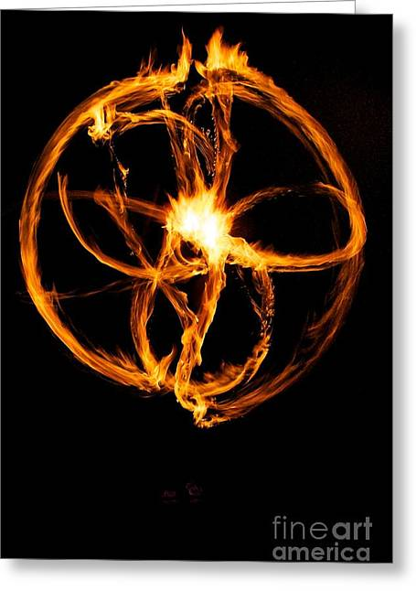 Fire Spinning Greeting Card by Darcy Evans