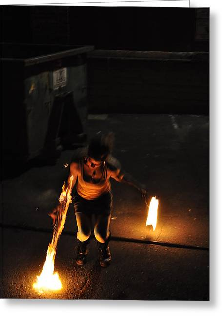 Fire Photography Pyrography Greeting Cards - Fire throw Greeting Card by Joseph  Cusano IV