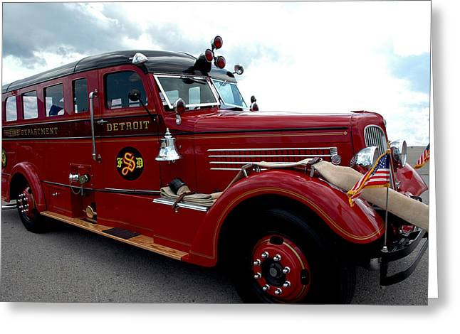 Fire Truck Selfridge Michigan Greeting Card by LeeAnn McLaneGoetz McLaneGoetzStudioLLCcom
