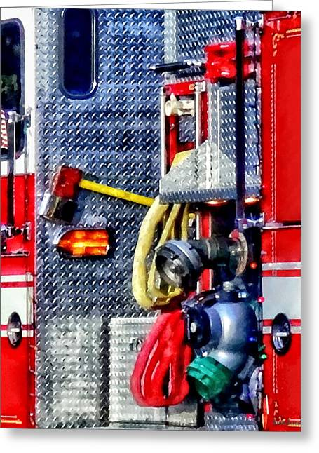 Fire Truck With Hoses And Ax Greeting Card by Susan Savad