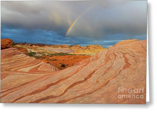Fire Wave Rainbow Dawn Greeting Card by Mike Dawson