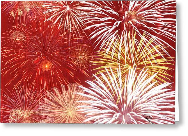 Orange Tapestries - Textiles Greeting Cards - Fire Works Greeting Card by Sharon Johnston