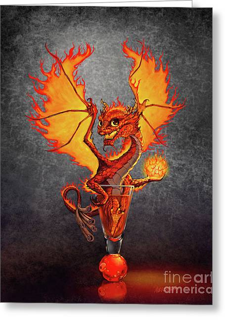 Fireball Dragon Greeting Card by Stanley Morrison