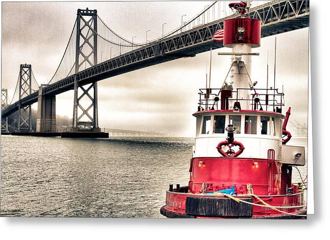 Fireboat and Bay Bridge HDR Greeting Card by Jarrod Erbe