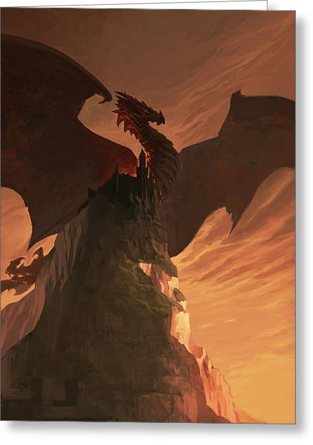 Fantasy Creatures Greeting Cards - Fireborn Dragon Greeting Card by Sedone Thongvilay