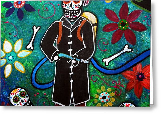 FIREFIGHTER DAY OF THE DEAD Greeting Card by PRISTINE CARTERA TURKUS