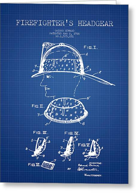 Firefighter Greeting Cards - Firefighter Headgear Patent drawing from 1926 - blueprint Greeting Card by Aged Pixel