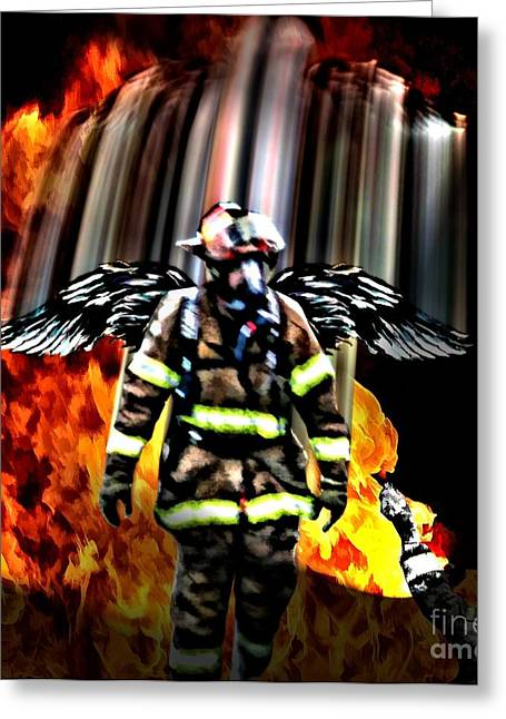 Fireman Posters Greeting Cards - Firefighters Angel Greeting Card by Tommy Anderson