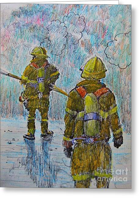 Pen And Ink Drawing Greeting Cards - Firefighters in Action Greeting Card by John Malone