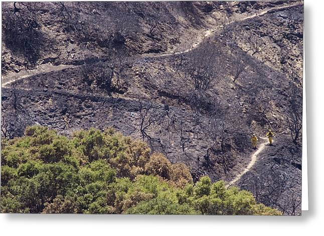 Gaviota Greeting Cards - Firefighters Monitoring The Blaze Greeting Card by Rich Reid
