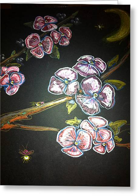 Lightning Pastels Greeting Cards - Fireflies and Dogwood Greeting Card by Alexandria Weaselwise Busen