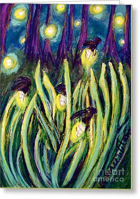 D Pastels Greeting Cards - Fireflies Greeting Card by D Renee Wilson