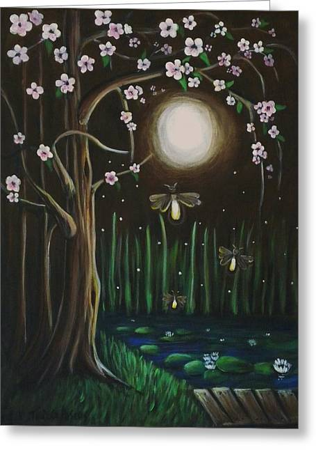 Youthful Greeting Cards - Fireflies Of Our Youth Greeting Card by Teresa  Pascos