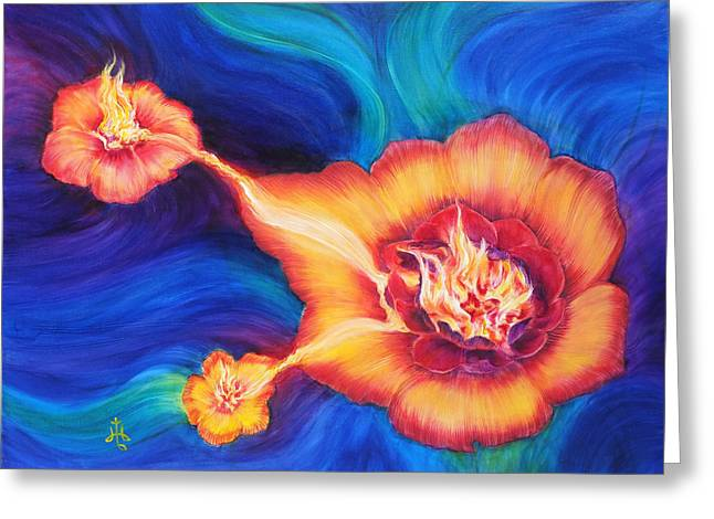 Inner Reality Paintings Greeting Cards - Fireflower Greeting Card by Diane Bay