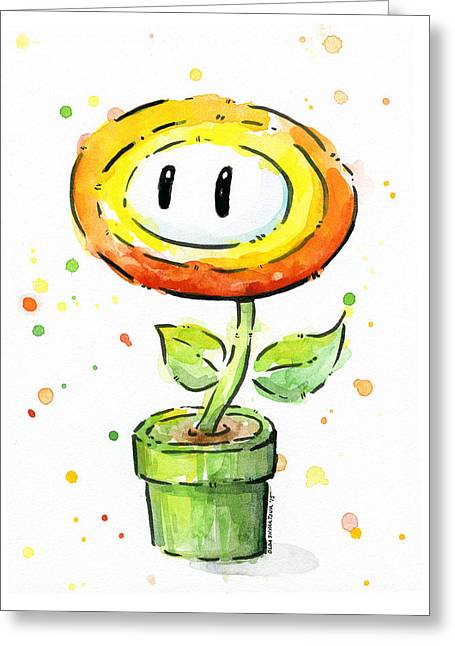 Game Mixed Media Greeting Cards - Fireflower Watercolor Greeting Card by Olga Shvartsur