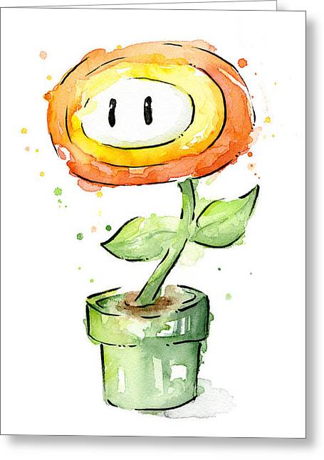 Geekery Greeting Cards - Fireflower Watercolor Painting Greeting Card by Olga Shvartsur
