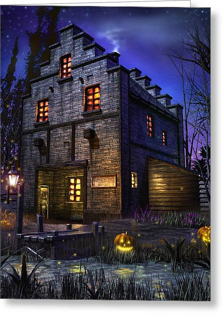 Mysterious Greeting Card featuring the digital art Firefly Inn by Joel Payne