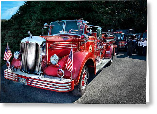 Customizable Greeting Cards - Fireman - 1949 and it still runs  Greeting Card by Mike Savad