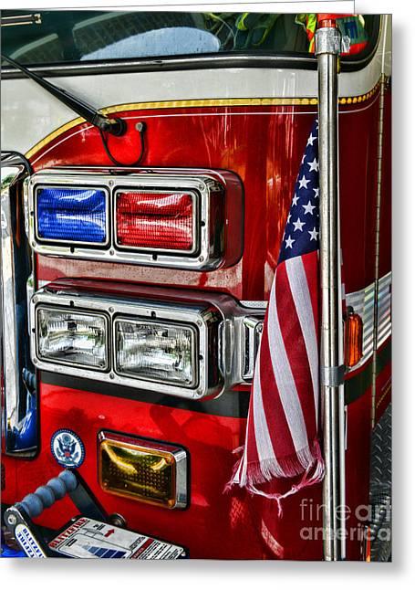 Fireman - Fire Truck Greeting Card by Paul Ward