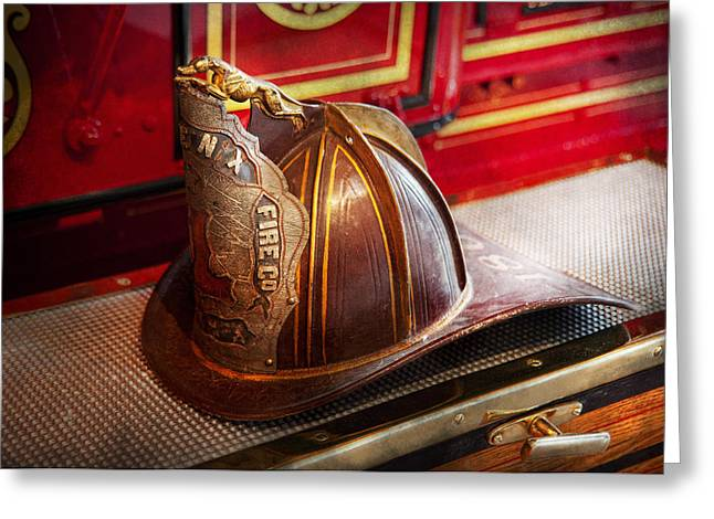 Fireman - Hat - Commander  Greeting Card by Mike Savad