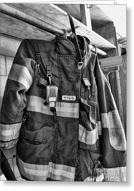 Fireman - Saftey Jacket Black And White Greeting Card by Paul Ward