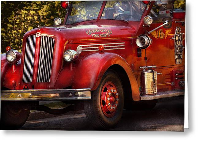 Brigade Greeting Cards - Fireman - The Garwood fire dept Greeting Card by Mike Savad
