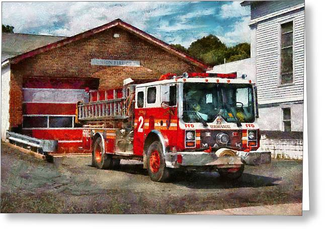 Customizable Greeting Cards - Fireman - Union Fire Company 1  Greeting Card by Mike Savad