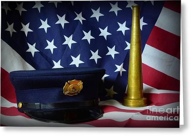 Fireman - American Hero Greeting Card by Paul Ward