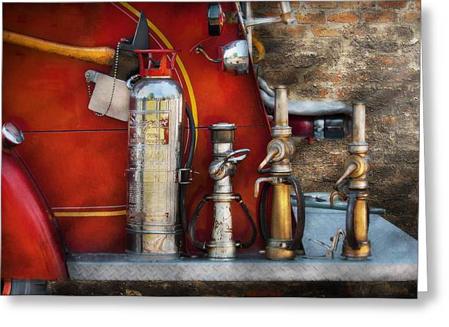 Firewomen Greeting Cards - Fireman - An Assortment of Nozzles Greeting Card by Mike Savad