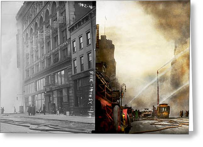Fireman - Brooklyn Ny - Surpirse 1909 - Side By Side Greeting Card by Mike Savad