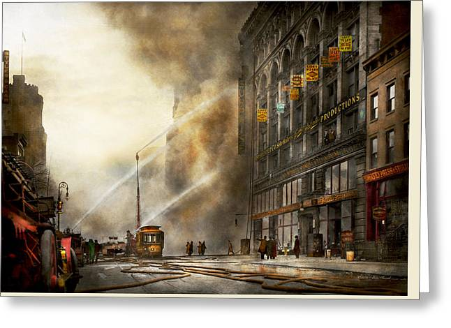 Fireman - Brooklyn Ny - Surprise 1909 Greeting Card by Mike Savad