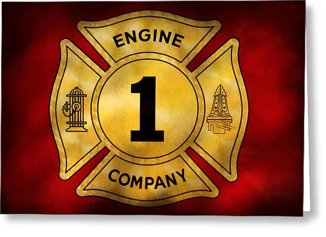 Defender Greeting Cards - Fireman - Engine Company 1 Greeting Card by Mike Savad