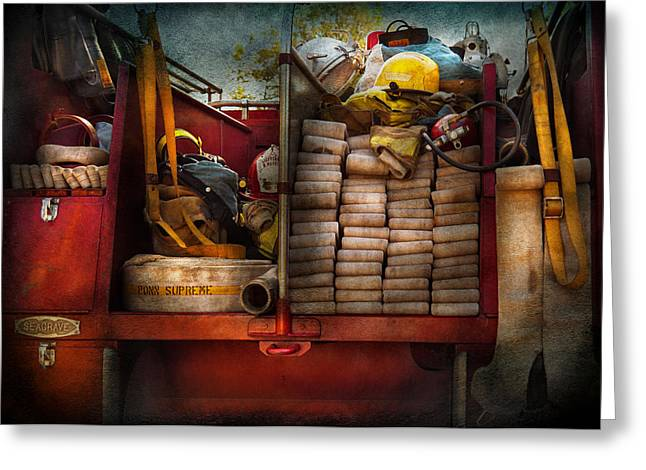 Firewomen Greeting Cards - Fireman - Fire equipment  Greeting Card by Mike Savad