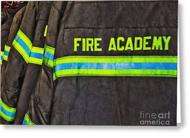 No Clothing Greeting Cards - Fireman Jackets Greeting Card by Skip Nall