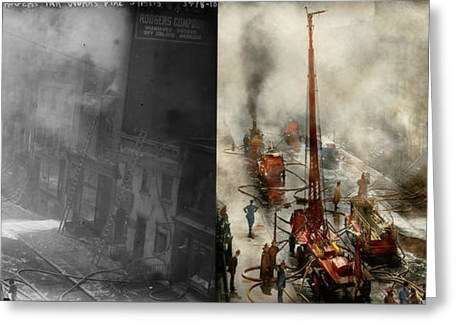 Fireman - New York Ny - Big Stink Over Ink 1915 - Side By Side Greeting Card by Mike Savad