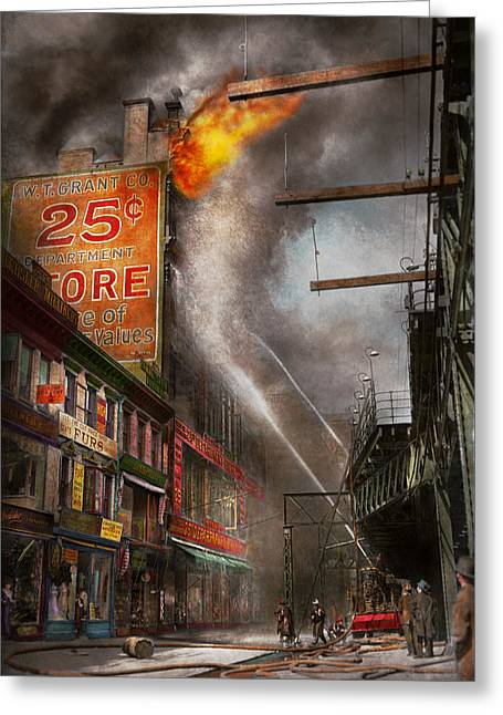 Fireman - New York Ny - Show Me A Sign 1916 Greeting Card by Mike Savad