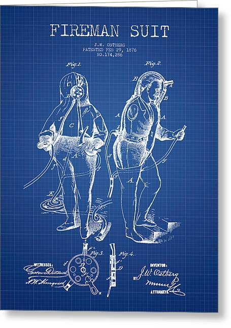 Firemen Art Greeting Cards - Fireman Suit Patent drawing from 1826 - Blueprint Greeting Card by Aged Pixel
