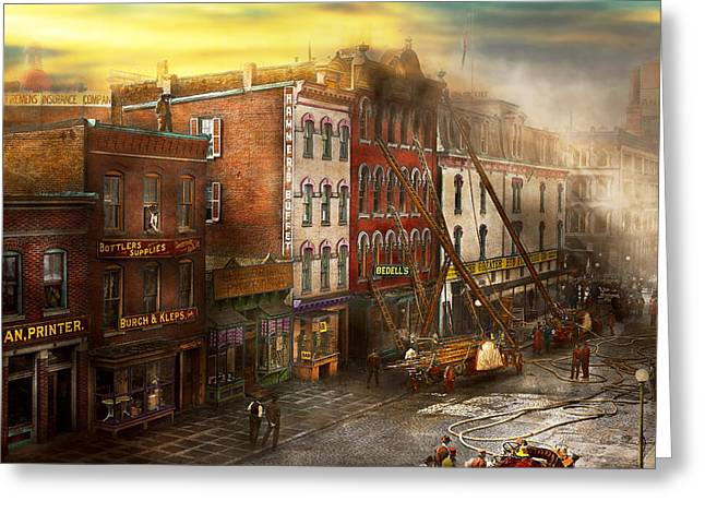 1907 Greeting Cards - Fireman - Washington DC - Fire at Bedells Bedding 1915 Greeting Card by Mike Savad