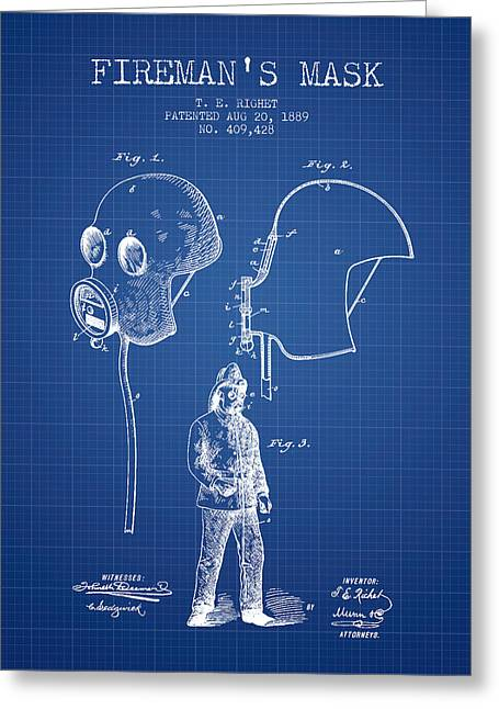 Rescue Greeting Cards - Firemans Mask Patent from 1889 - Blueprint Greeting Card by Aged Pixel
