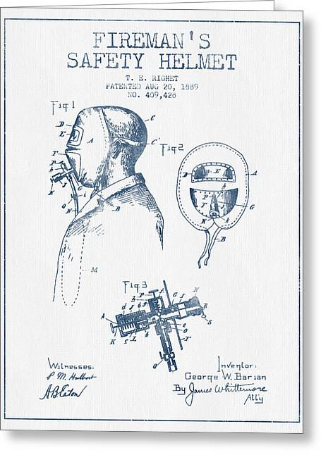 Firemen Art Greeting Cards - Firemans Safety Helmet Patent from 1889 - Blue Ink Greeting Card by Aged Pixel