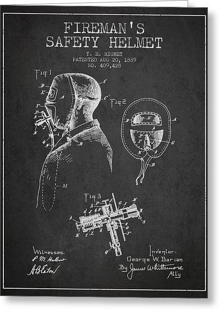 Firemen Art Greeting Cards - Firemans Safety Helmet Patent from 1889 - Dark Greeting Card by Aged Pixel